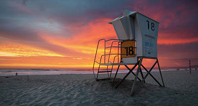 Photograph - Mission Beach Colorful Clouds by William Dunigan