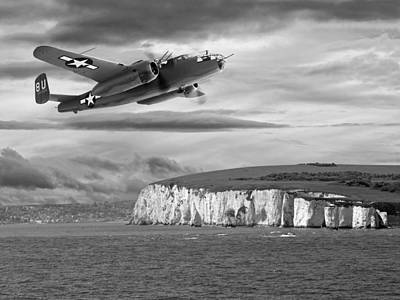 Photograph - Mission Complete B-25 Over Dover Black And White by Gill Billington