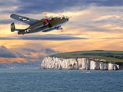 Photograph - Mission Complete B-25 Over White Cliffs Of Dover by Gill Billington