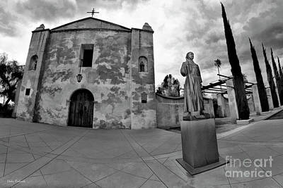 Photograph - Mission San Gabriel San Gabriel Ca Black And White by Blake Richards