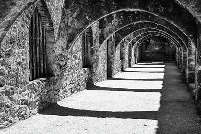 Photograph - Mission San Jose - San Antonio Texas Monochrome by Gregory Ballos