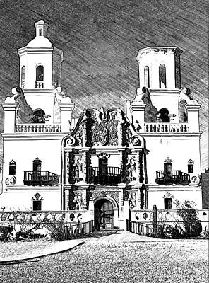 Photograph - Mission San Xavier Del Bac - Bw Sketch by Tatiana Travelways