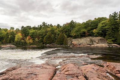 Photograph - Mississagi River - Pink Granite Riverbed And Whitewater Rapids by Georgia Mizuleva