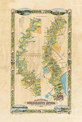 Mississippi River Historic Map Lousiana New Orleans Baton Rouge Map Farming Plantation Hand Painted  Art Print