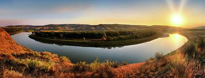 Photograph - Missouri River Sunrise Panoramic by Leland D Howard
