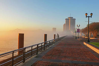 Photograph - Mist On The Walkway New Orleans Waterfront Mississippi River Lousiana by Toby McGuire