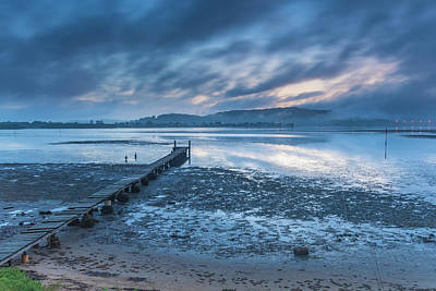 Photograph - Misty Blue Dawn Bay Waterscape With Wharf by Merrillie Redden