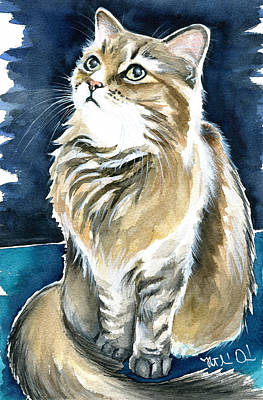 Painting - Misty Fluffy Cat Painting by Dora Hathazi Mendes