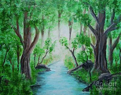 Painting - Misty Forest Stream by Jacqueline Athmann