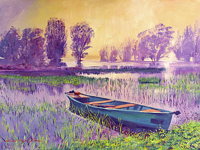 Painting - Misty Lake Morning by David Lloyd Glover