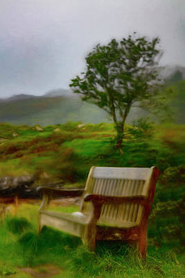 Photograph - Misty Morning In The Rain Painting by Debra and Dave Vanderlaan
