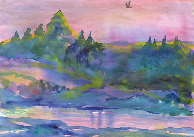 Painting - Misty Morning On The Bank Of A Forest River by Dobrotsvet Art