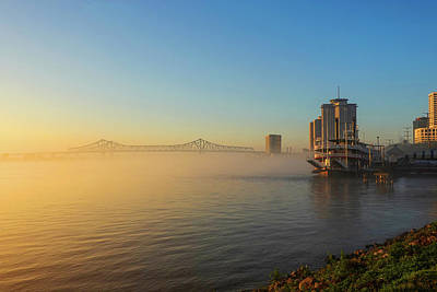 Photograph - Misty Morning On The New Orleans Waterfront New Orleans La Louisiana Sunrise by Toby McGuire