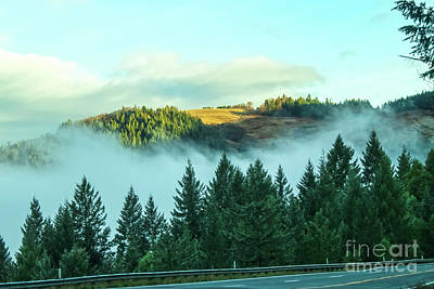 Photograph - Misty Mountains - View From Highway Of Distant Mountaintop In The Sunlight Above The Fog by Susan Vineyard