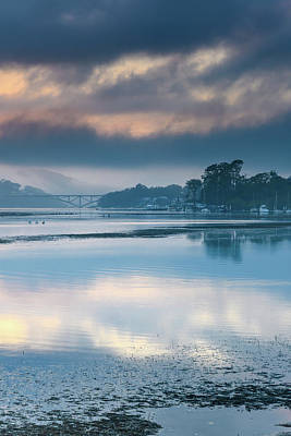 Winter Animals - Misty Sunrise Bay Waterscape with Clouds by Merrillie Redden