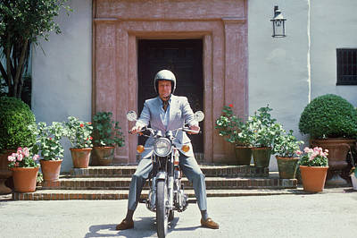 Photograph - Mitchell On Motorcycle by Slim Aarons