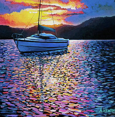 Wall Art - Painting - Moberly Lake Sunset by Alison Newth