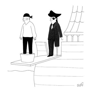 Drawing - Mobster Pirates by Seth Fleishman