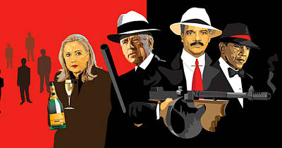 Joe Biden Wall Art - Digital Art - Mobsters by Robert Korhonen