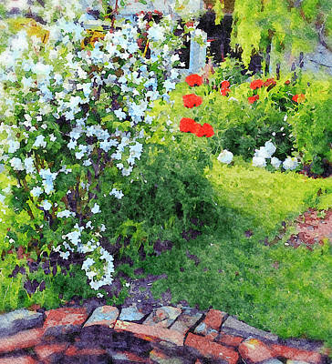 Digital Art - Mock Orange And Poppies by Judi Suni Hall