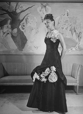 Photograph - Model Displaying Evening Dress Adorned W by Nina Leen