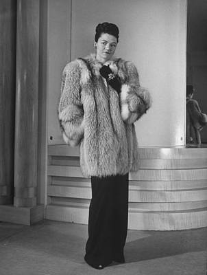 Photograph - Model Displaying Fur Coat At Nieman Marc by Nina Leen