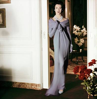 Photograph - Model In A Blue Dior Gown by Henry Clarke
