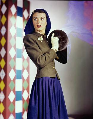 Photograph - Model In A College Weekends Ensemble by Horst P. Horst