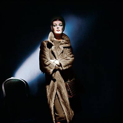 Photograph - Model In A David Mink Coat by Horst P. Horst