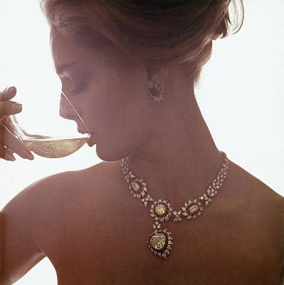 Photograph - Model In A Diamond Necklace by Bert Stern