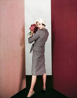 Photograph - Model In A Galanos Tweed Suit by Henry Clarke