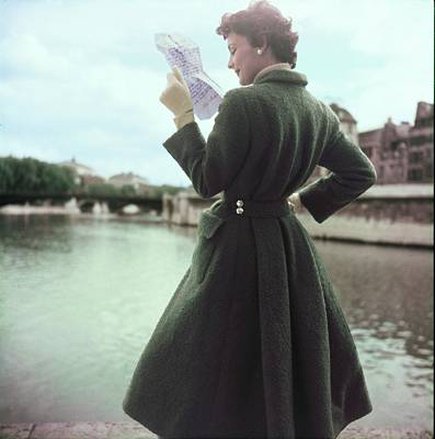 Photograph - Model In A Green Hermes Coat by Henry Clarke