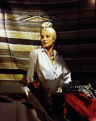 Photograph - Model In A John Frederics Turban by Horst P. Horst