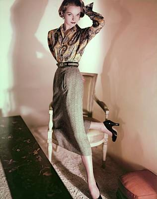 Photograph - Model In A John Miller Ensemble by Horst P. Horst