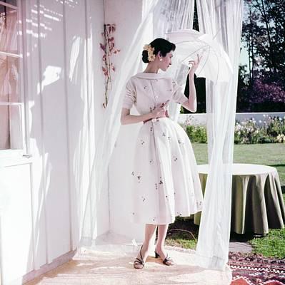 Photograph - Model In A Kasper Silk Dress by Horst P. Horst
