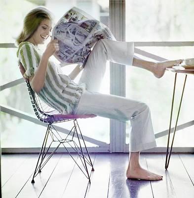 Photograph - Model In A Lee Herman Sweater by Bert Stern