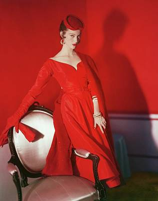 Photograph - Model In A Nettie Rosenstein Ensemble by Horst P. Horst