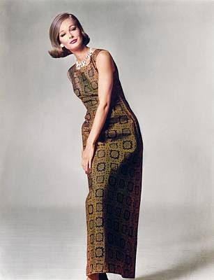 Photograph - Model In A Pauline Trigere Dress by Bert Stern