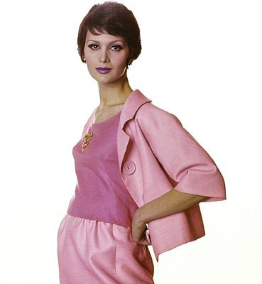 Photograph - Model In A Pink Sarmi Suit by Bert Stern