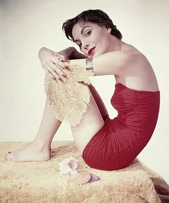 Photograph - Model In A Red Jantzen Swimsuit by Horst P. Horst