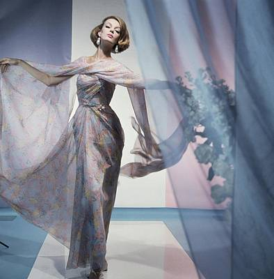 Photograph - Model In A Sophie Floral Dress by Horst P. Horst