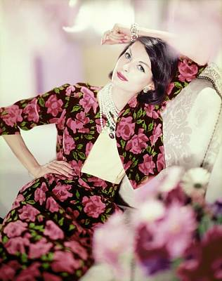 Photograph - Model In A Traina-norell Floral Suit by Horst P. Horst