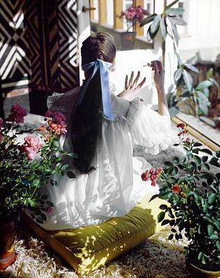 Photograph - Model In An Iris Nightgown by Horst P. Horst