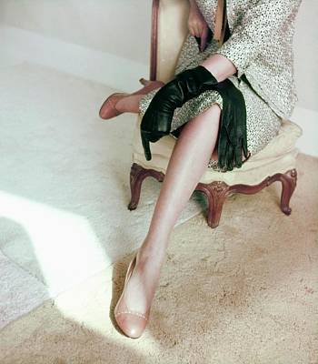 Photograph - Model In Brown Palizzio Pumps by Horst P. Horst