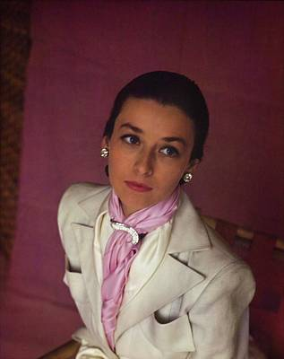 Photograph - Model In Echo Scarves by Horst P. Horst