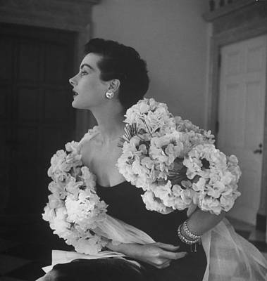 Photograph - Model In Flowery Dress by Nina Leen