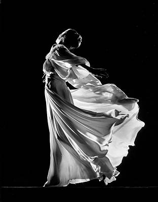 Photograph - Model Posing In Billowing Light Colored by Gjon Mili