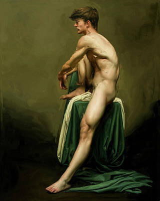 Painting - Model With Raised Knee  by Troy Caperton