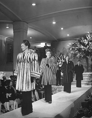 Photograph - Models Displaying Fur Coats At Nieman Ma by Nina Leen