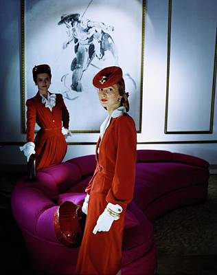 Photograph - Models In Dresses And Berets by Horst P. Horst